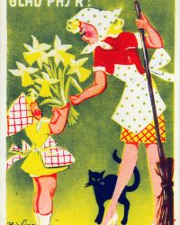 Glad Pask Easter Sexy Witches Vintage Poster