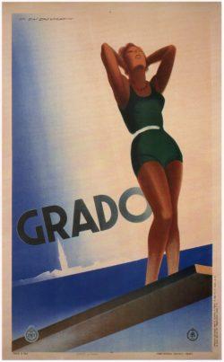 Grado Italy, Vintage Travel Poster, 1933