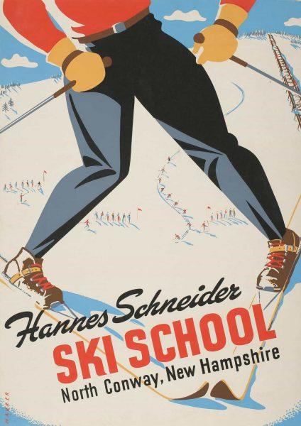 Hannes Schneider Ski School Vintage Travel Poster