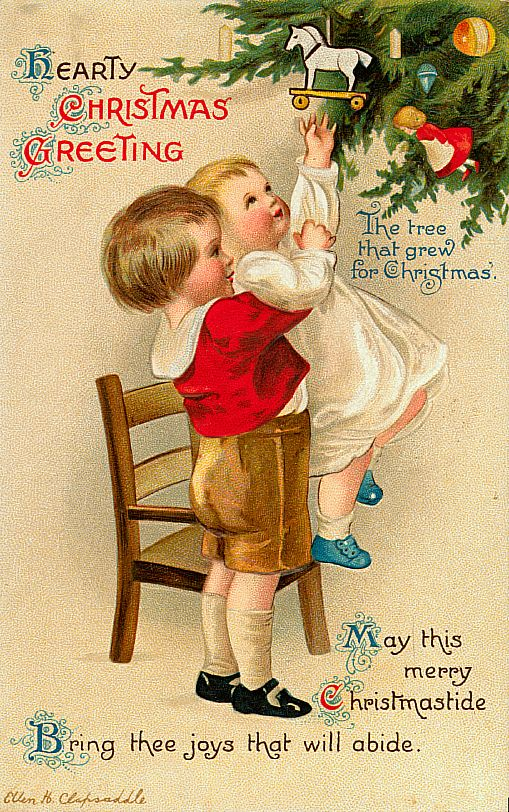 Hearty Christmas Greeting Christmas Tree Vintage Christmas Postcard