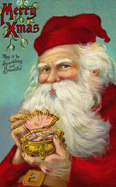 Merry Xmas May It Be Sparkling and Bountiful Santa Vintage Clip Art