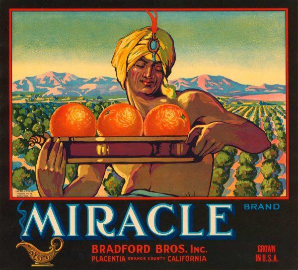 Miracle Brand Old California Orange Vintage Crate Label 1928