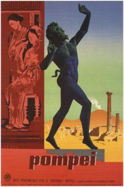 Pompei by Mario Puppo, Tourism Poster 1955