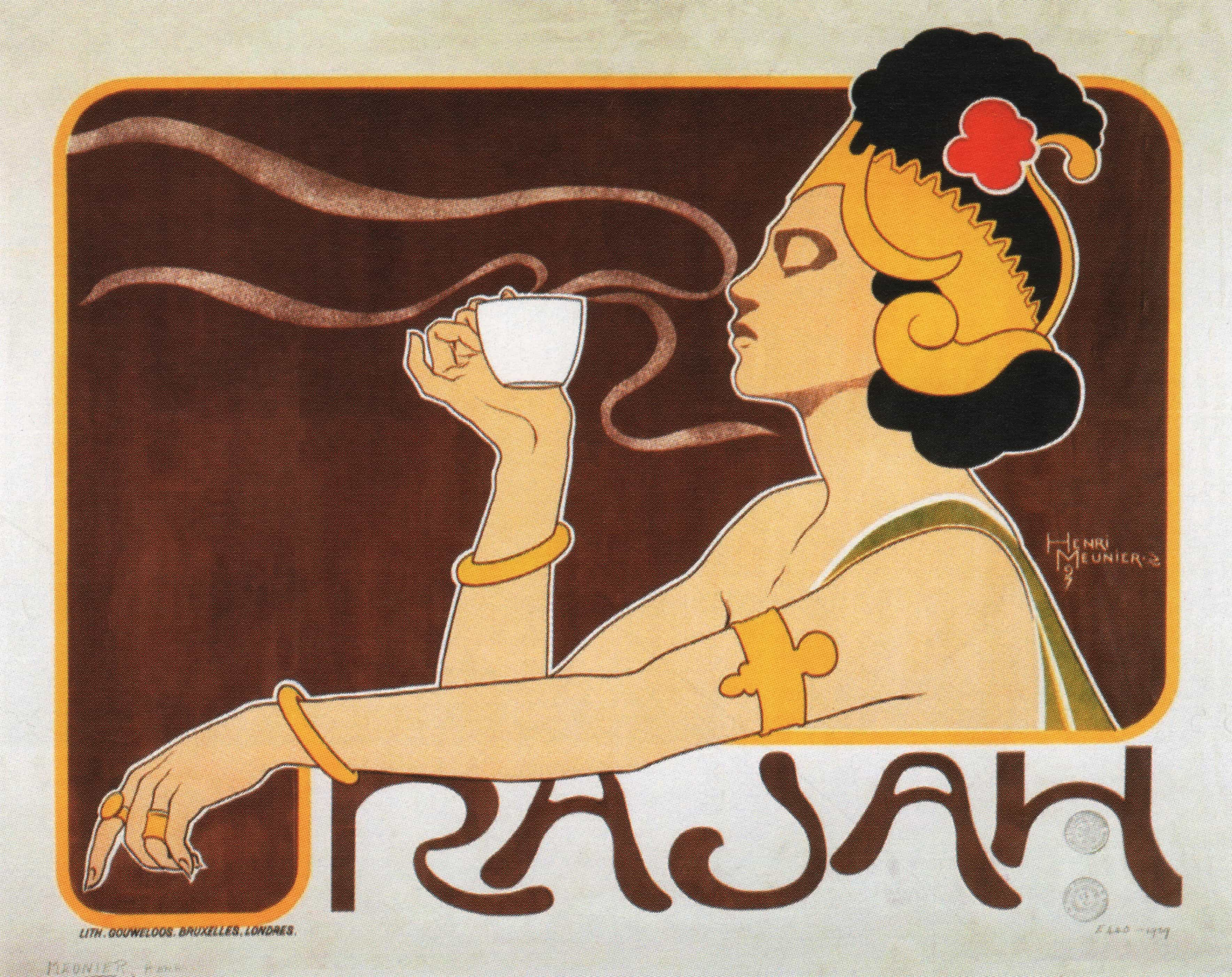 rajah vintage coffee poster art nouveau