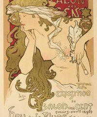 Salon des Cent Alphonse Mucha Art Nouveau Vintage Poster