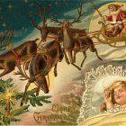 Santa Claus and Reindeers, Vintage Christmas Clip Art