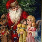 Christmas Clip Art: Santa with Angel