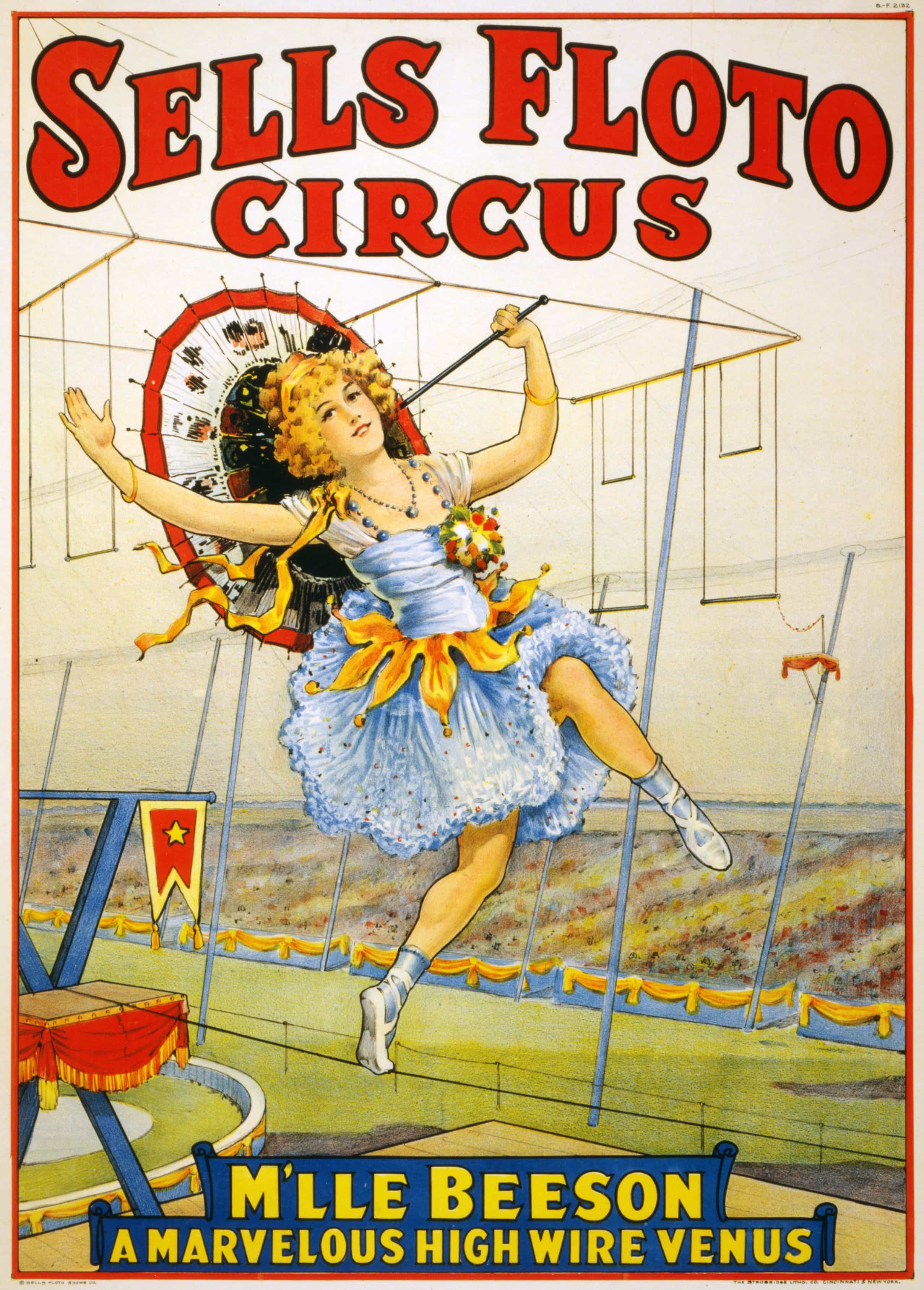 Vintage Circus Poster – Sells Floto Circus – M'lle Beeson