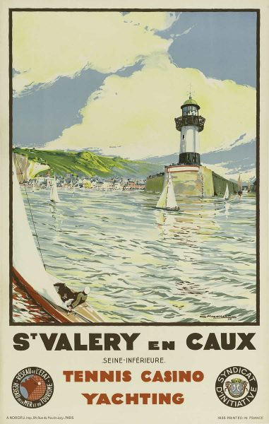 St. Valery en Caux Tennis Casino Yachting Vintage Travel Poster Camille Marchand 1936