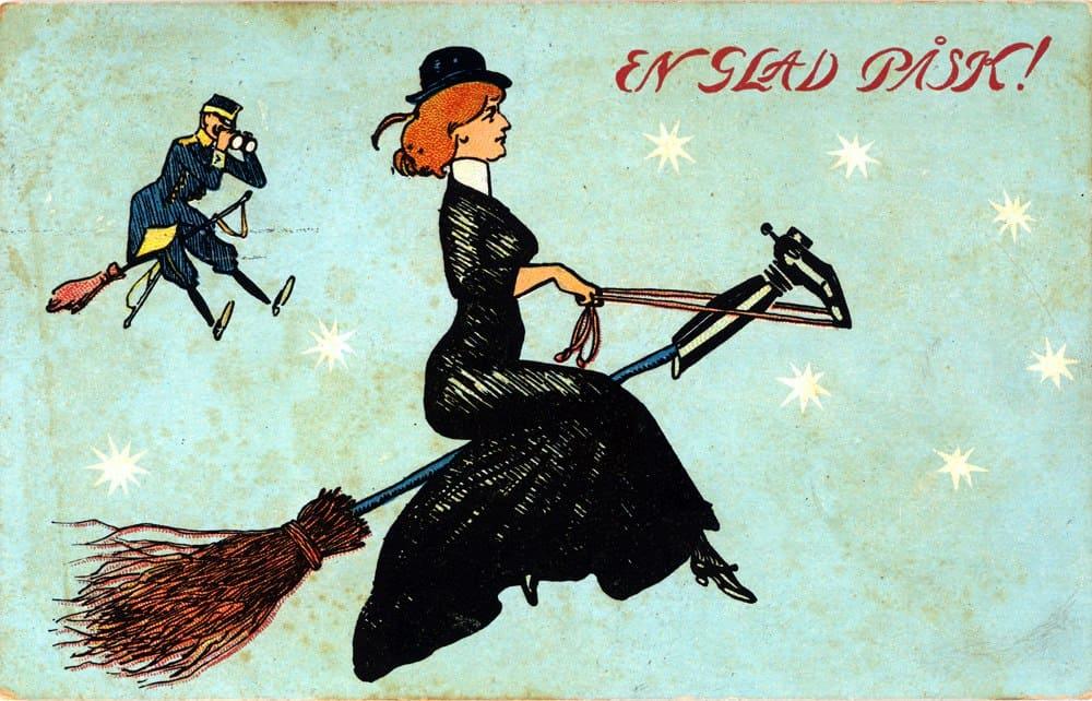 """""""En Glad Pask"""" Sweden Eastern Witches Vintage Poster 1912"""