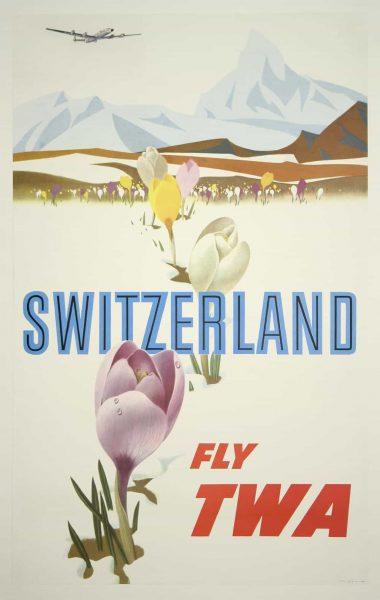 TWA Switzerland Vintage Travel Poster David Klein 1959