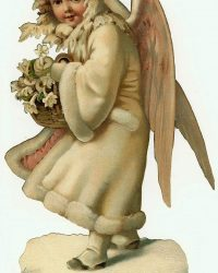 Victorian Angel in Robe Vintage Christmas Clip Art