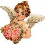 Victorian Cherub With Bouquet Clip Art