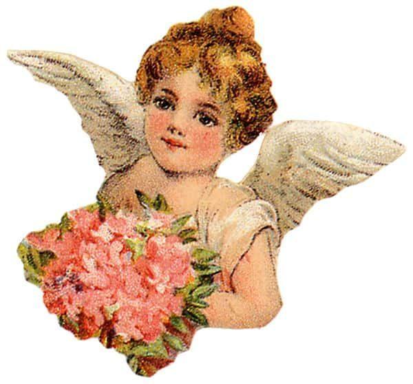Victorian Cherub Angel With Bouquet Clip Art