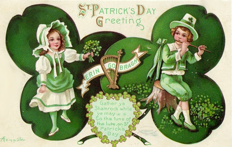 Co Patrick/'s Day Red Bay Patrick/'s Day Post Card Erin Go Bragh Post Card 1920/'s Antique St Golden Harp St Antrim Never Used