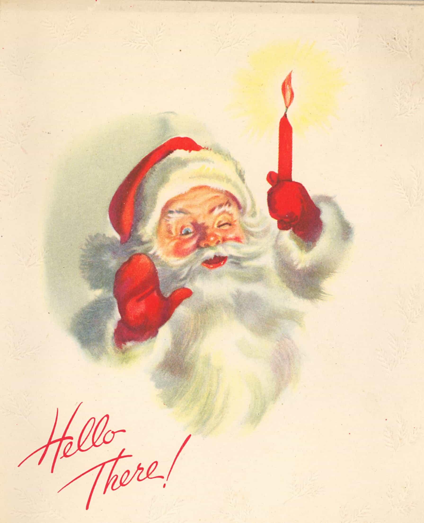 Christmas Clipart Santa.Hello There Santa Claus Vintage Christmas Clipart