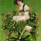 """Woman on top of Bouquet with Pipe"" Vintage St Patrick's Day"