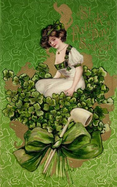 St. Patricks Day Woman on top of Bouquet with Pipe Vintage Holiday Art