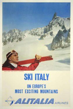 Alitalia Airlines – Ski Italy Winter Tourism Poster