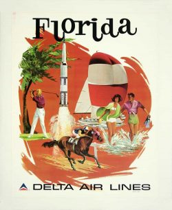 Delta Air Lines – Florida Tourism Poster by Sweney, 1974