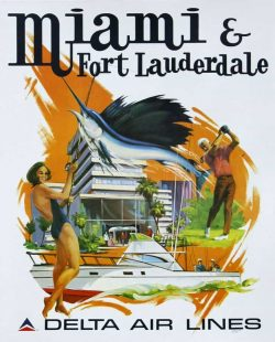 Airline Poster, Delta Air Lines, Miami and Fort Lauderdale
