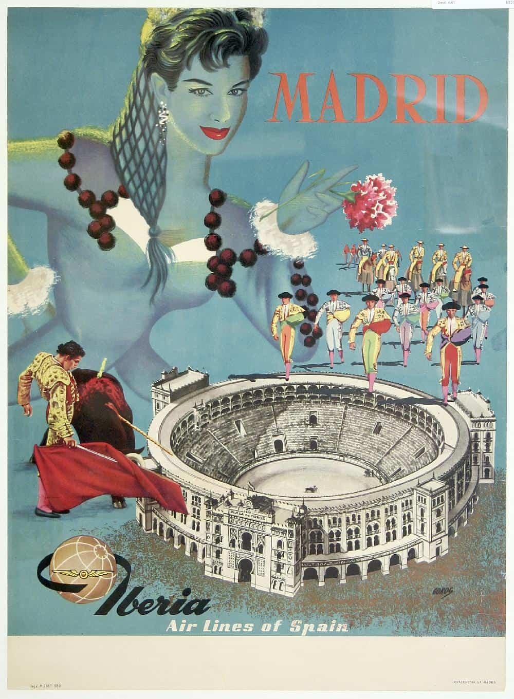 5d9d497c3d Iberia Air Lines Madrid Vintage Spanish Poster