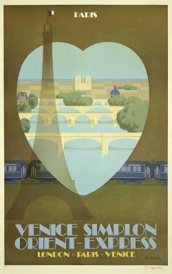 Venice Simplon Orient-Express – Paris Travel Poster; Fix Masseau