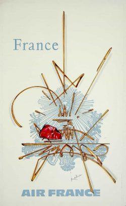 Air France Vintage Travel Poster 1968