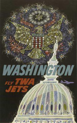 Fly TWA Jets – Washington Poster by David Klein, 1958