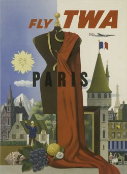 Fly TWA – Paris Tourism Poster by S. Greco, 1960