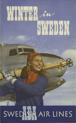 Vintage Swedish Air Lines – Winter in Sweden Poster